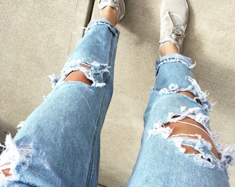 custom ripped jeans // all sizes // high waisted ripped boyfriend jeans
