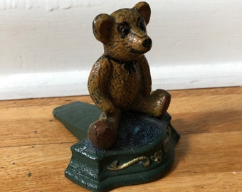 Atlantic Collectibles Brass Metal Grizzly Brown Bear Door Stop Stopper Wedge Home Decor