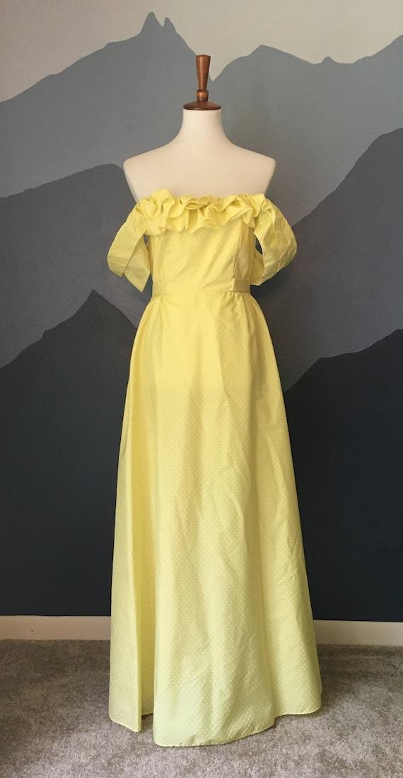 Yellow Vintage Vicky Vaughn Junior Prom Dress, Yel