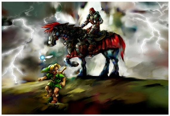 Ocarina Of Time Link And Ganondorf Poster 13x19