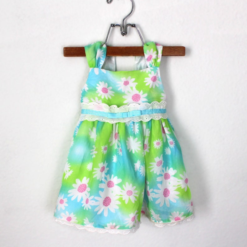Vintage 90/'s Daisy Dress with Lace Eyelet Trim Blue and Green Sheer Fabric Fully Lined