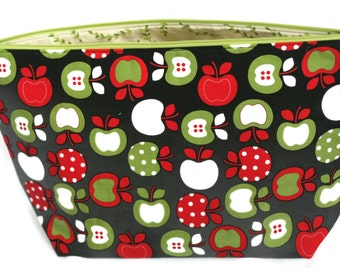 Knitting Project Bag, Sewing Bag, Needlework Bag, Wedge Bag, Zipper Pouch, Apples