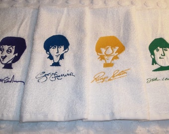 The Beatles Towels Embroidered Paul George Ringo John Faces and Signatures 4 Piece Hand Guest Kitchen Dish Gift Towel Set Choice of Colors