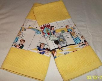 Retro 50's Home Ec Baking Designer Series Kitchen Dish Towel 2 Piece Set Choice of Colors Available