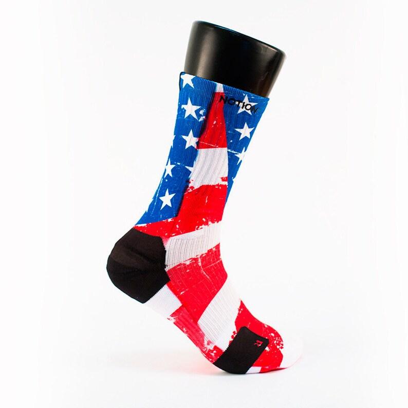 SETHSSOCKS Old Glory Flag Custom Elite Crew Socks