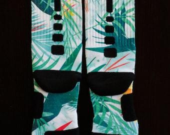 """Custom Nike Elite Socks for Lebron 10 Shoes """"Championship"""" Light Blue LIGHT BLUE TROPICS"""