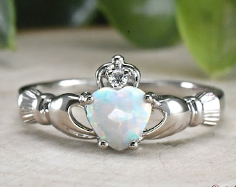 Opal Heart Ring 925 Sterling Silver Celtic Irish Opal Wedding Ring Womens Promise Engagement Claddagh Band Lab Created Opal Ring Girls Kids
