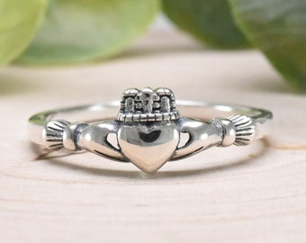 Dainty Tiny Claddagh Ring Celtic Irish Solid 925 Sterling Silver Sizes 2-10