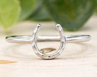 Adjustable Ring Gold Stackable Ring Mini Charm Ring Silver Minimal Ring Horseshoe Ring