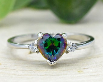 Mystic Topaz Ring Birthstone Ring Rainbow Topaz Gemstone Ring Mens Ring Signet Ring 925 Solid Sterling Silver Ring Gift for Partner