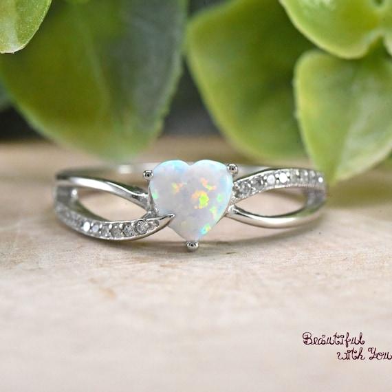USA vendeur Coeurs Anneau Argent Sterling 925 Bijoux Blanc /& Rose Lab Opale Taille 12