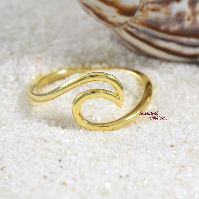 8308b770c9180 Gold Plated Waves Ring Sterling Silver, Sterling Silver Womens Beach Wave  Ring, Wave Band Womens Girls, Girls Wave Ring