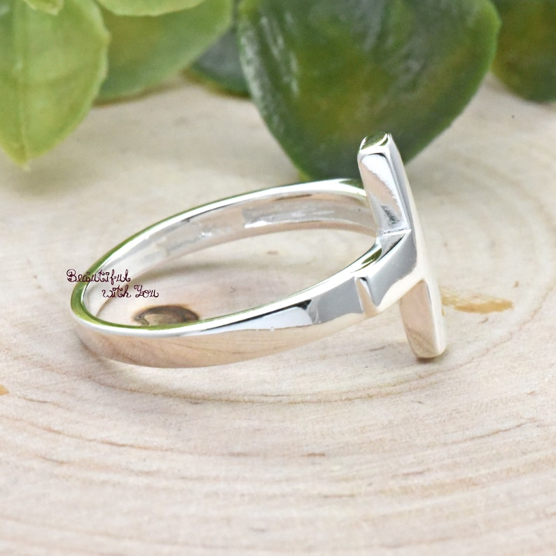 Gift Silver Sideways Cross Ring Womens 925 Sterling Silver Cross Ring 13mm Big Sideways Cross Ring Rings for Her Womens Cross Ring
