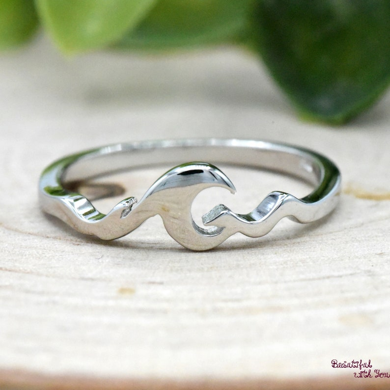 Multiple Waves Ring Ocean Tide Sea Plunging Waves Nautical Beach Summer Trendy 925 Sterling Silver Womens Dainty Everyday Simple Band