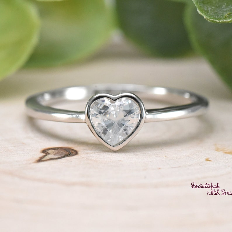 da8ffeb7f8d3d Simple Heart Ring, Mother and Daughter Ring, Mom and Baby Ring, Mother  Daughter Jewelry, Baby Girls Mothers Ring Sterling Silver CZ Ring