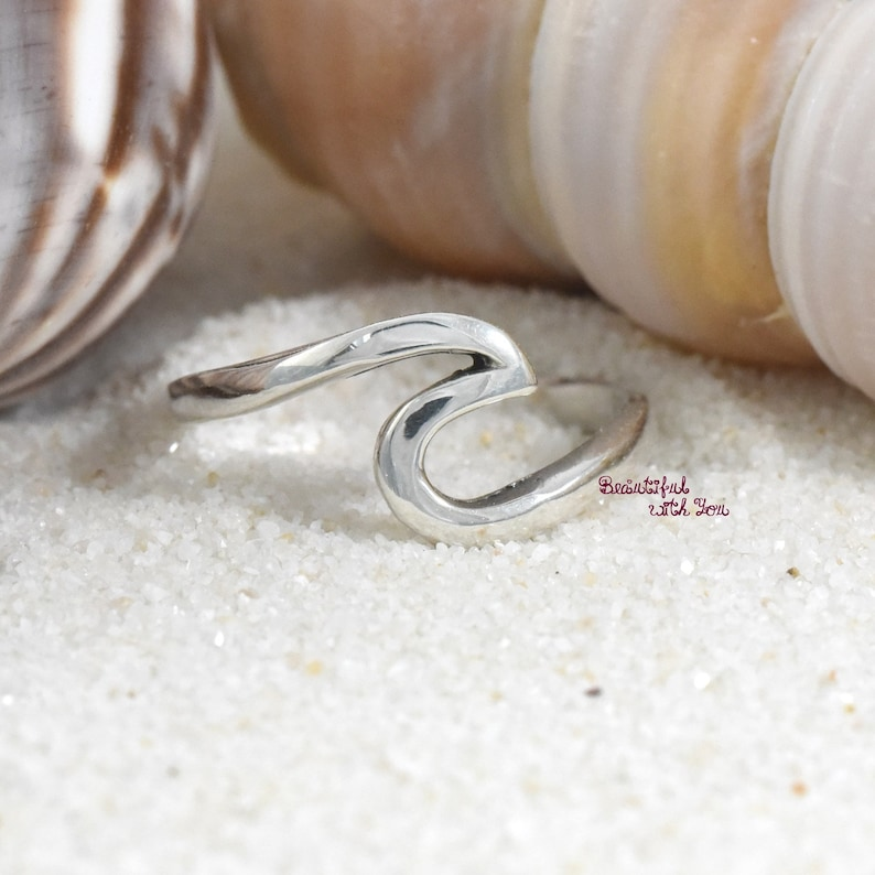Sterling Silver Beach Jewelry Wave Ring Wave Ring Womens Silver (EEEQ)