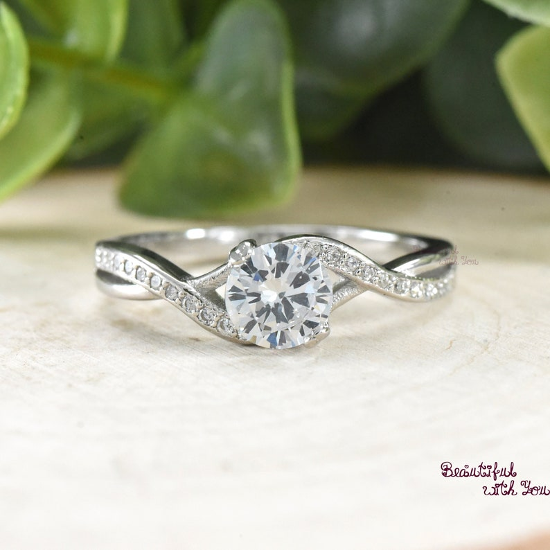 c1b30707afce9 Engagement Ring, Womens Sterling Silver Promise Ring, Silver Cubic Zirconia  Ring, Wedding Rings for Her, Womens Promise Band