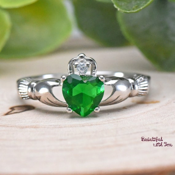 Irish Celtic Heart Sapphire CZ Claddagh Love Promise Holding Hands Silver Ring
