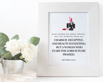 Mothers Day Gift Printable Art Bible Verse Instant Download CHARITY Proverbs 31 Christian Jesus Home Decor Mothers Day Mother Gift Makeup
