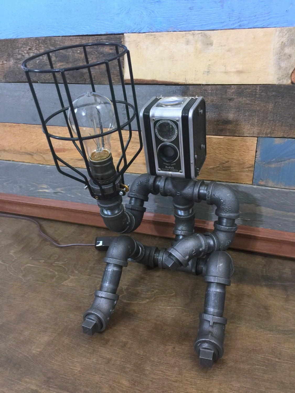 Robot Lamp Pipe Lamp Industrial Decor Steampunk Lighting
