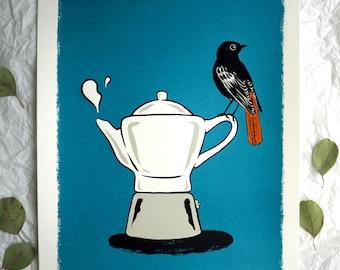 Der frühe Vogel... - the early bird... screen printing - art print - graphic, Tierbild, Animal picture, Coffee coffeepot Kaffee kaffeekanne
