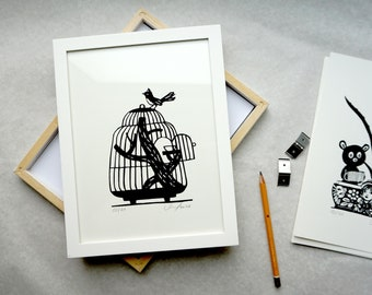 Home, home - happy place, screen printing, birdcage, freedom, loving print