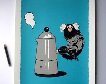 Guten Morgen Äffchen - Good morning monkey, screen print graphic, picture, coffee pot, espresso pot, monkey, wall art