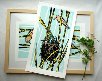 Surprise guest - Überraschungsgast, reed warbler, thrush warbler, water bird, bird's nest, screen printing, serigraphy, art, art print