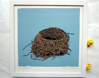 Fundstück -  Find - original screen print graphic, serigrafie, nest, bird, new beginning, nature, art print, Nest, Vogel, Neuanfang, Natur,
