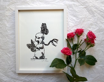 Poodle with Butterflies, Toy Graphics, Home - Screen Print Graphics - Paper Cutting, Wall Art, Artprint, Dog