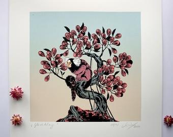 Gleichklang - Consonance, Original screen print graphic, art print, bonsai tree, tree, common marmoset, mural, Original Siebdruck Grafik