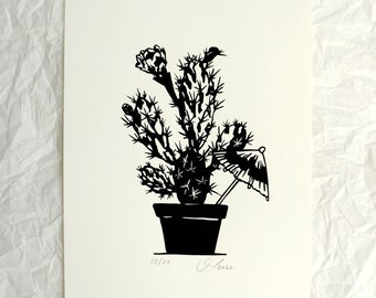 Home - Happy Place - serigraphy, cactus, Art-print, Lovely Art