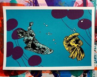 Solo Kampffische - fighting fish - screen printing - art print - graphic