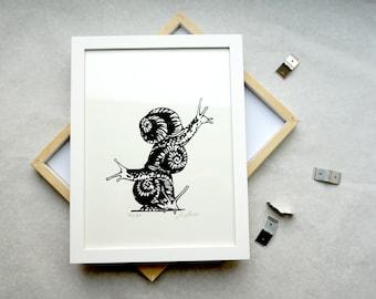Home, Zuhause - Happy Place, Screen Printing, Snails, Snail Pile, Loving Print, Artprint, Art Print, Kunstdruck