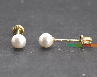 Pearl Stud Earrings Gold, Freshwater Cultured Pearl Stud Earrings Gold, Pearl Stud Screw Back Earrings 14k Gold Womens Girls