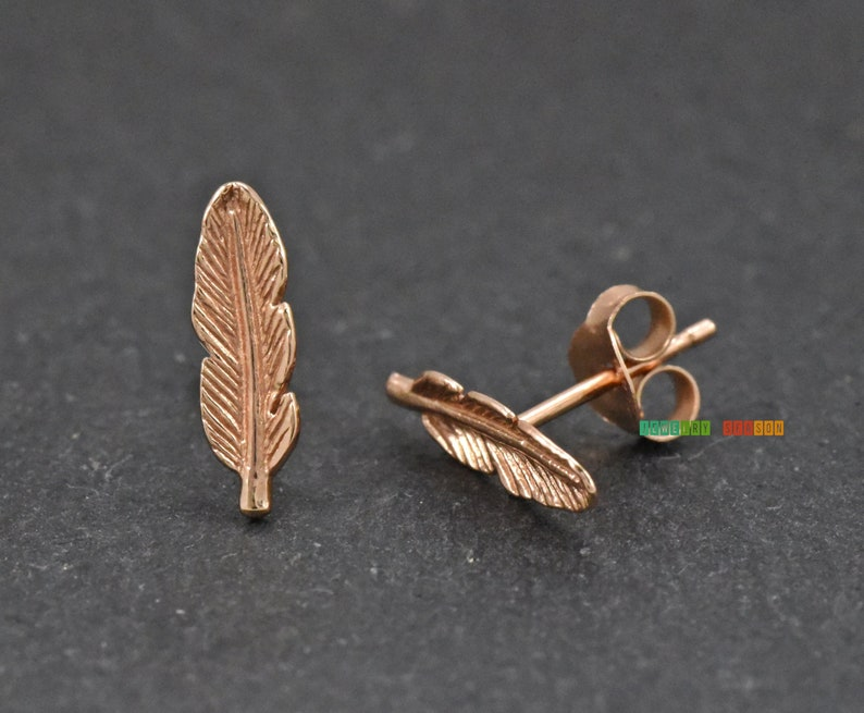 2555205741cea 14k Rose Gold Plated Silver Leaf Earrings, 13mm Long Leaf Nature Inspired  Stud Earrings, Rose Gold Leaf Push Back Earrings for Womens Gift