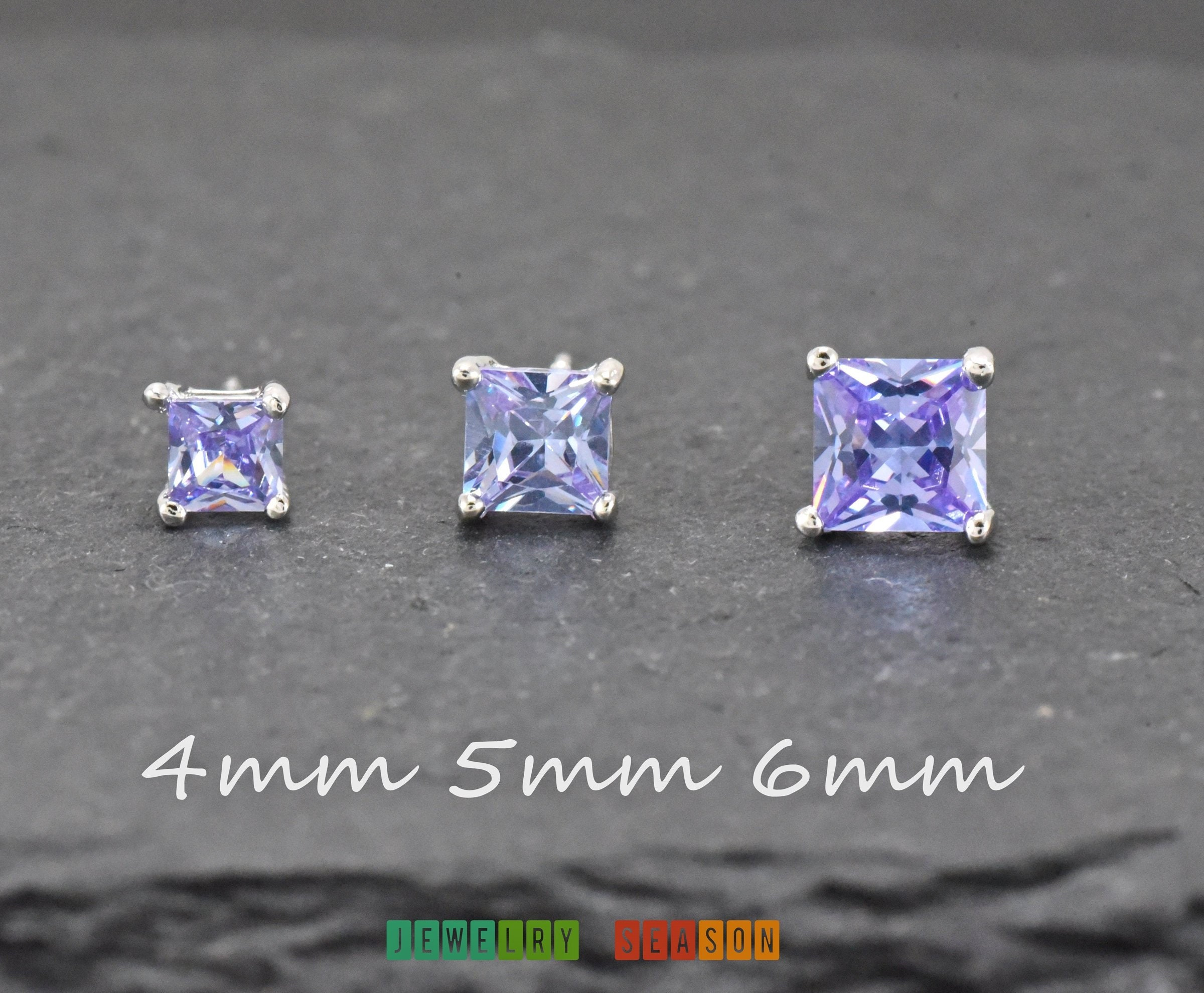 Sterling silver stud earrings 3mm CZ lavender coloured solitaires