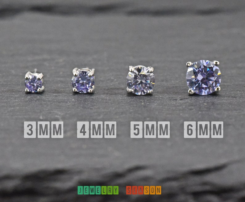 Alexandrite Square Princess Cut CZ Crystal 925 Sterling Silver Stud Earrings