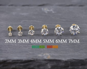 Solid 14K Yellow Gold Stud Screw Back Earrings 2mm 3mm 4mm 5mm 6mm 7mm Yellow Gold Baby Toddler Children Girls Womens Round Stud Earrings