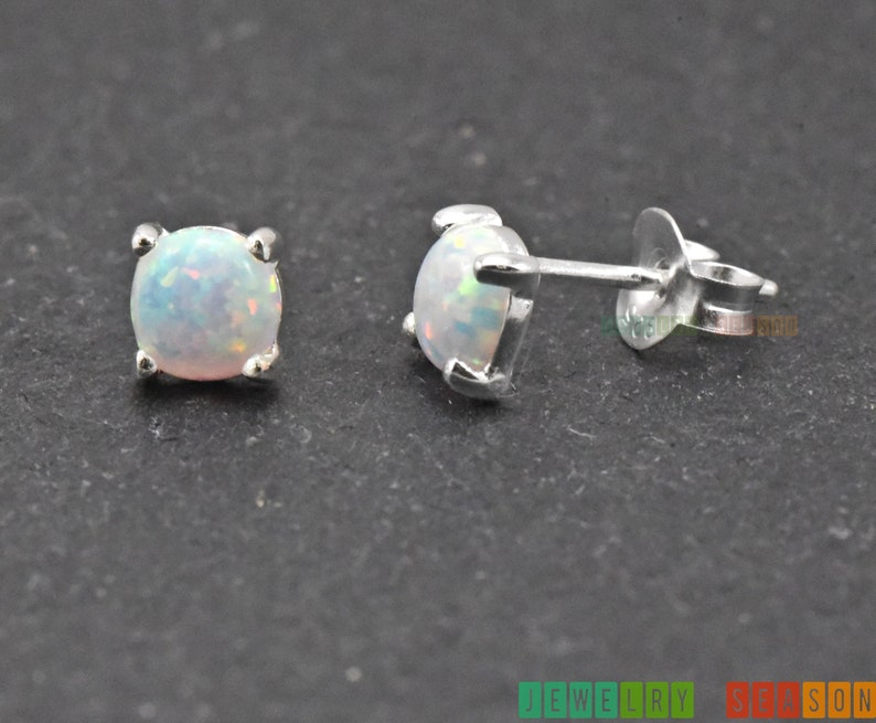 925 Sterling Silver Created Round Blue Opal Solitaire Stud Earrings