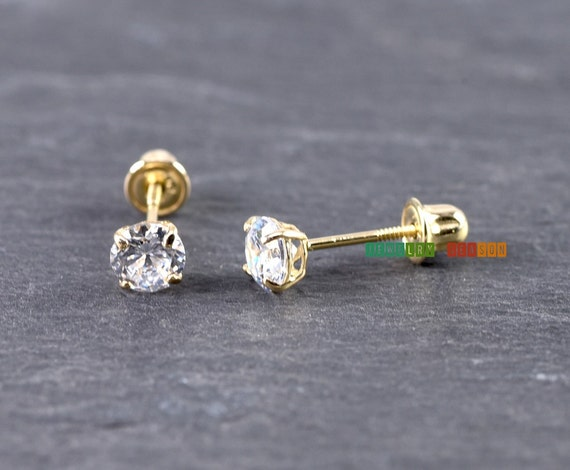 14k Yellow Gold Prong Set Solitaire Screw Back Baby Girl Earrings 2mm