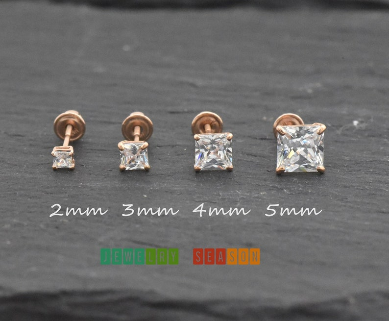 4853dda8d Princess Cut Cubic Zirconia Stud Screw Back Earrings 14k Rose | Etsy