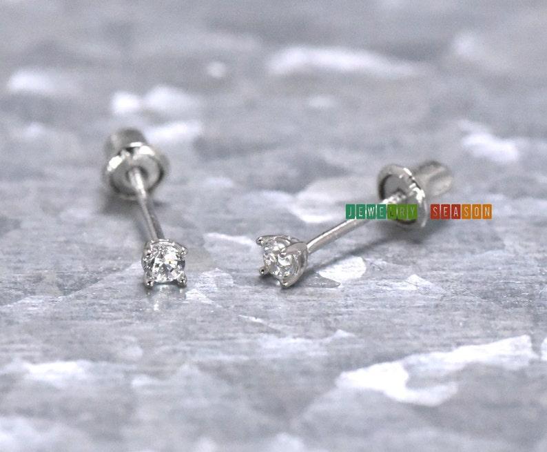 0ee934faf Screw Back Stud Earrings Toddler Baby Girls Stud Earring 14K   Etsy