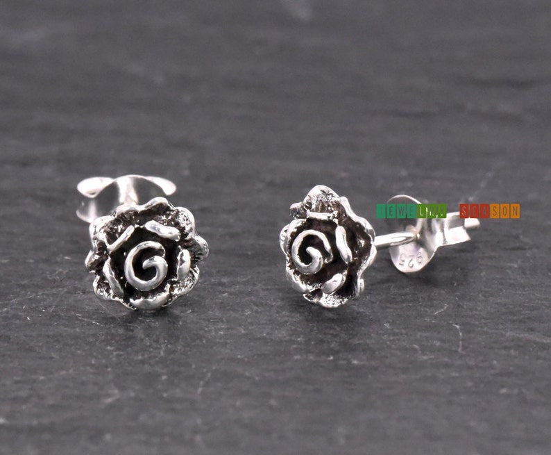 5e8a17f48 Dainty Rose Flower Silver Stud Earrings Rose Solid Silver | Etsy