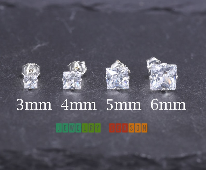 b7b66775c Dainty Silver Stud Earrings 3mm 4mm 5mm 6mm Princess Cut Clear | Etsy