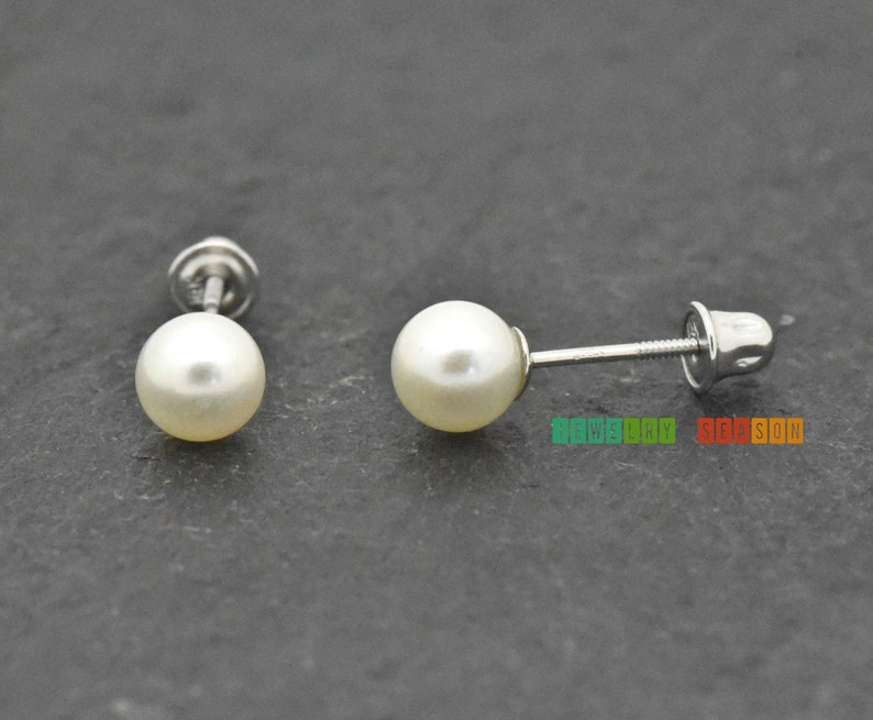 FRESHWATER PEARL STUD EARRINGS 925 STERLING SILVER BACKS AND POST  4mm or 5mm