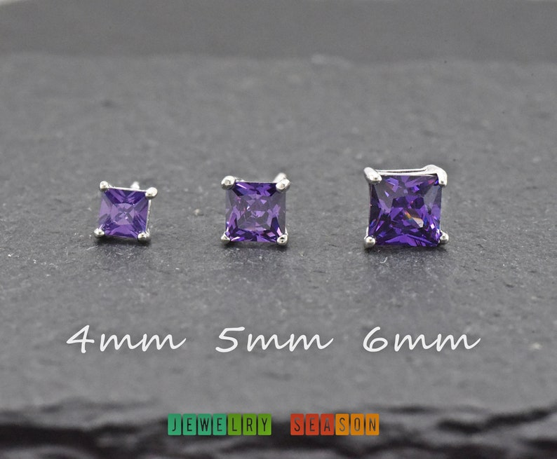 Solitaire Stud Earrings 14K White Gold Over .925 Sterling Silver 4MM Princess Cut Created Gemstones