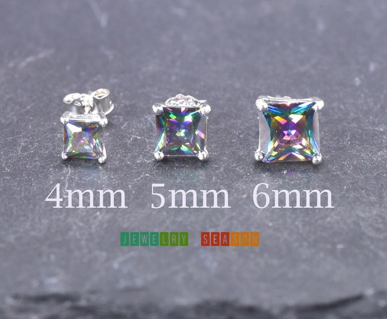Sterling Silver .925 Solid Stud Earrings Basket Set Cubic Zirconia Square Cut CZ