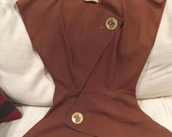 74d20dca1cb6cb Beautiful rare brown dragon button peplum 1940s vintage blouse