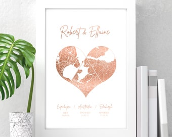 Personalised digital or foil printed map engagement | wedding | anniversary gift print in copper, gold or silver, any city or town and text
